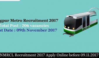 MAHA-METRO JE Recruitment 2017 – Apply 206 Maharashtra Metro Rail JE, Technicians Vacancies