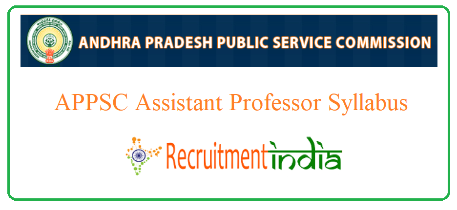 APPSC Assistant Professor Syllabus