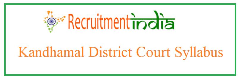 Kandhamal District Court Syllabus