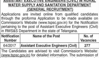 TSPSC AEE Recruitment 2017 | Apply 277 Assistant Executive Engineer(Civil) Vacancies @ tspsc.gov.in