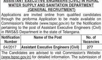 TSPSC AEE Recruitment 2017 | Apply 277 Assistant Executive Engineer(Civil) Vacancies @ tspsc.gov.in