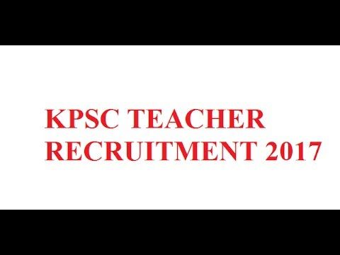 KPSC School Teachers Recruitment