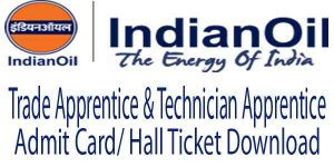 IOCL Apprentice Admit Card