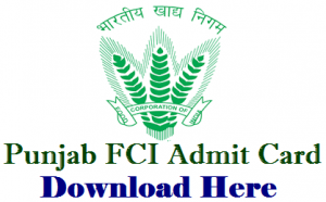 FCI Punjab Watchman Admit Card