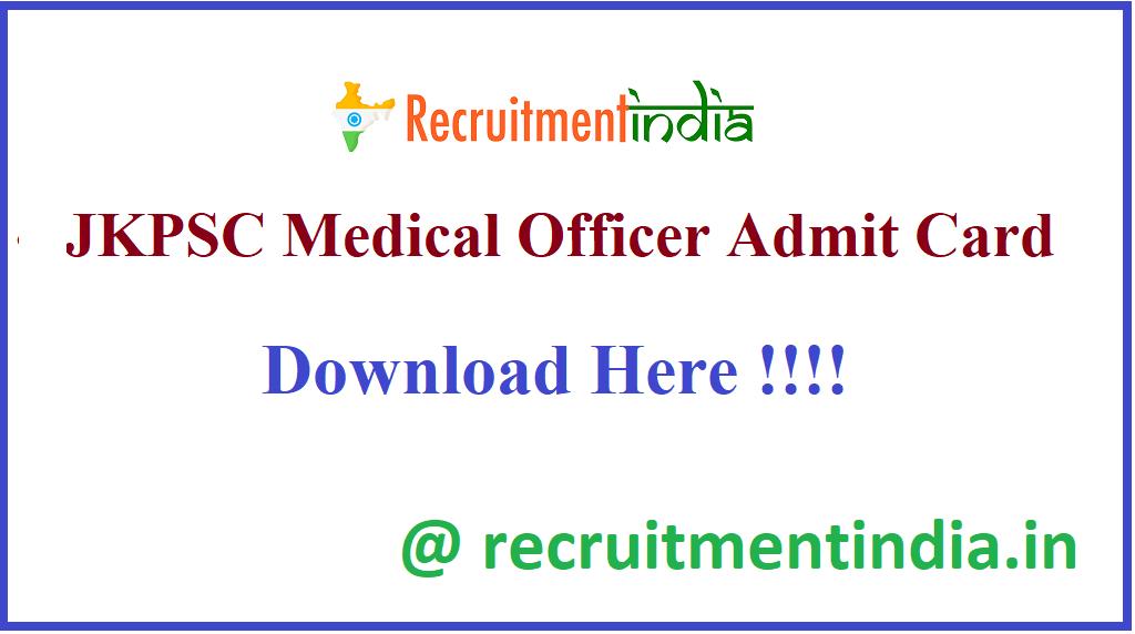 JKPSC Medical Officer Admit Card