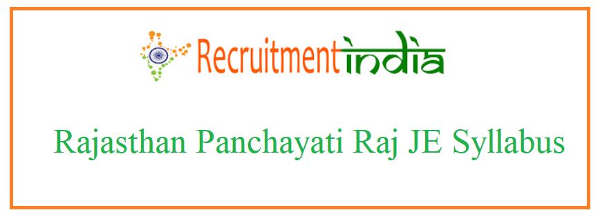 Rajasthan Panchayati Raj JE Syllabus