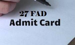 27 FAD Admit Card