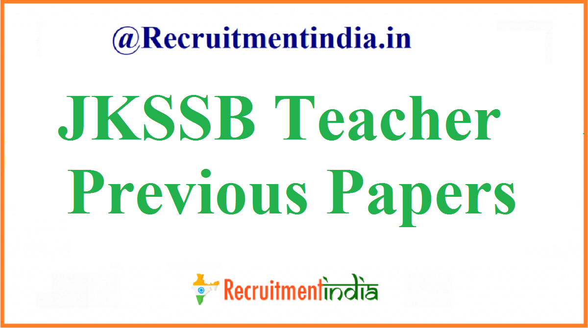 JKSSB Teacher Previous Papers