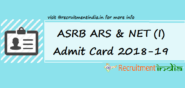 ASRB ARS & NET (I) Admit Card
