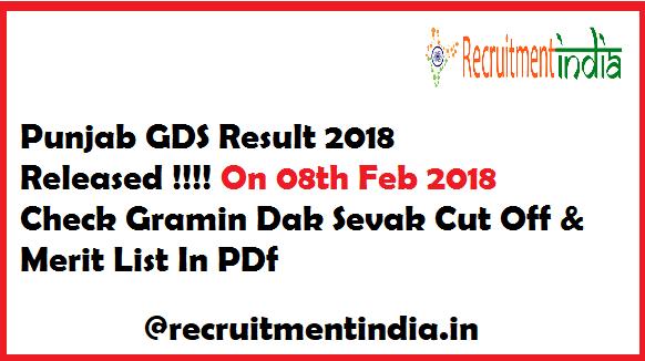 Punjab GDS Result 2018
