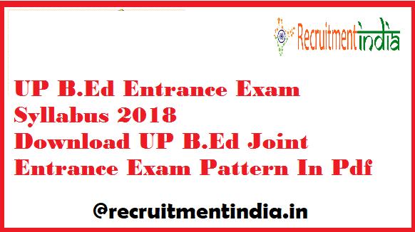 UP B.Ed Entrance Exam Syllabus