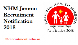 NHM Jammu Recruitment Notification 2018