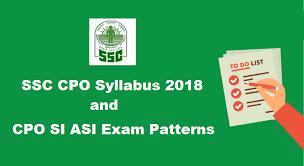 SSC CPO SI ASI Syllabus 2018