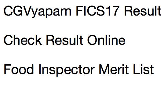 CG Vyapam FICS Resul