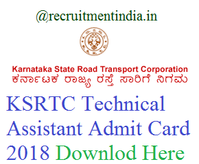 KSRTC Technical Assistant Admit Card
