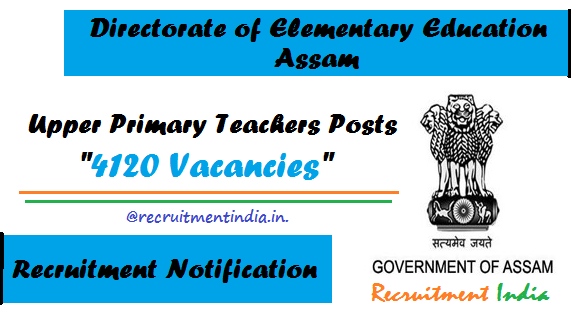 DEE Assam UP Teacher Recruitment