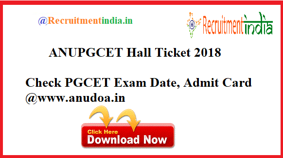 ANUPGCET Hall Ticket