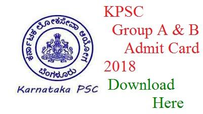 KPSC Group A & B Admit Card