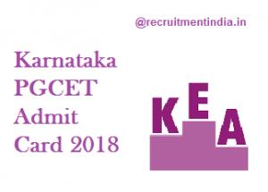 Karnataka PGCET Admit Card 2018