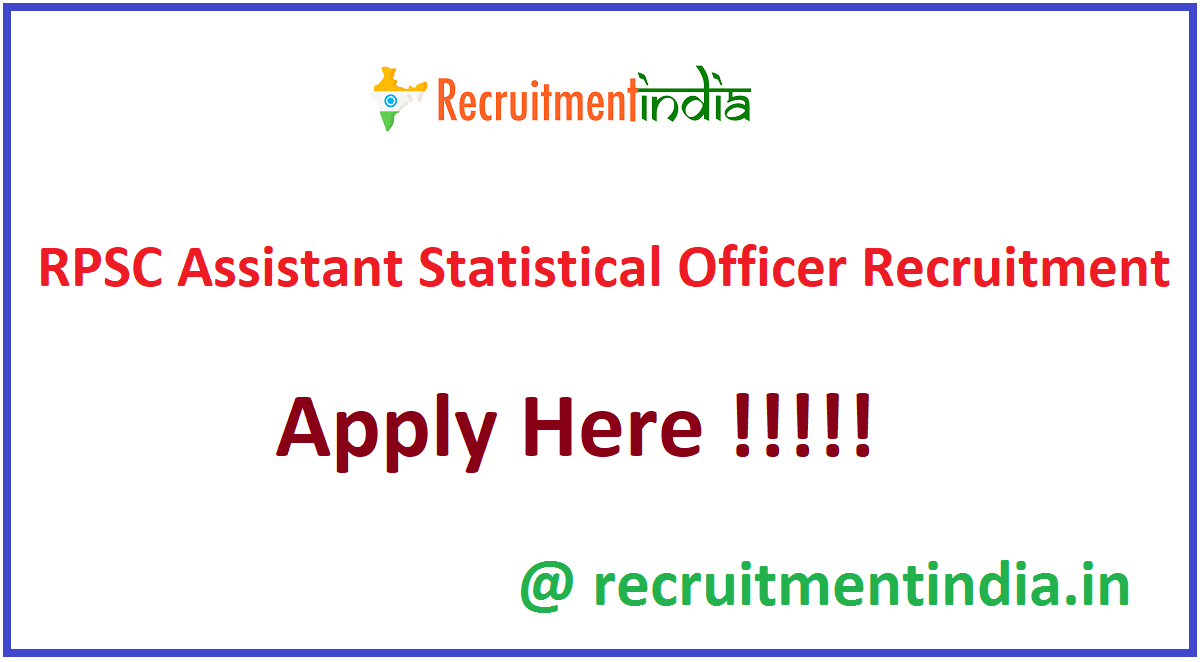 RPSC Assistant Statistical Officer Recruitment