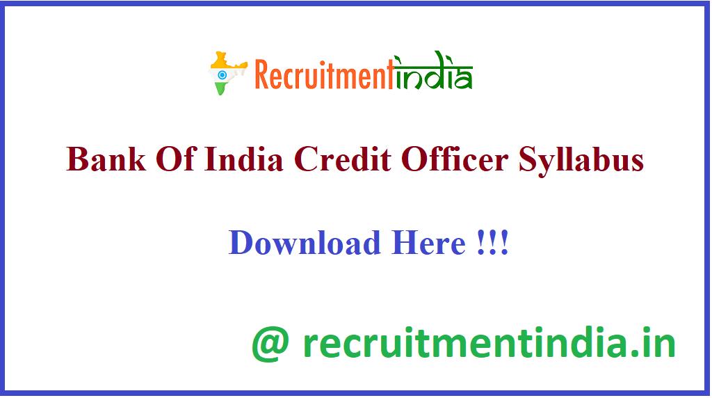 Bank Of India Credit Officer Syllabus