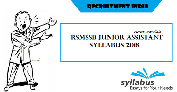RSMSSB Junior Assistant Syllabus