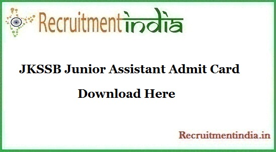 JKSSB Junior Assistant Admit Card