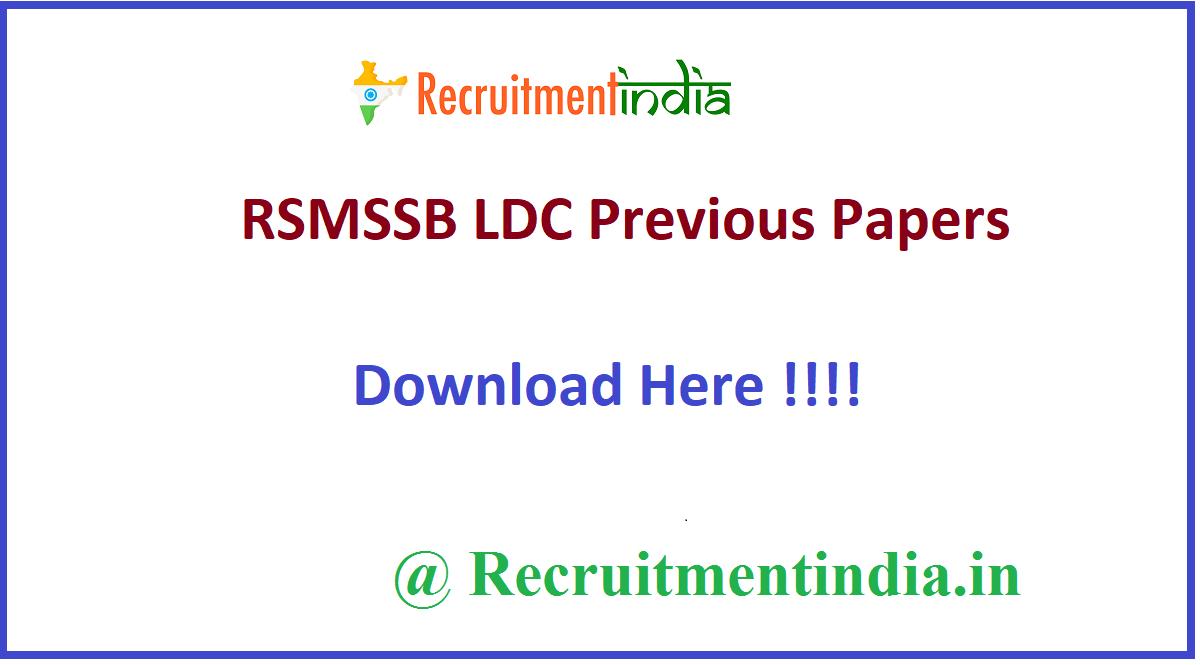 RSMSSB LDC Previous Papers