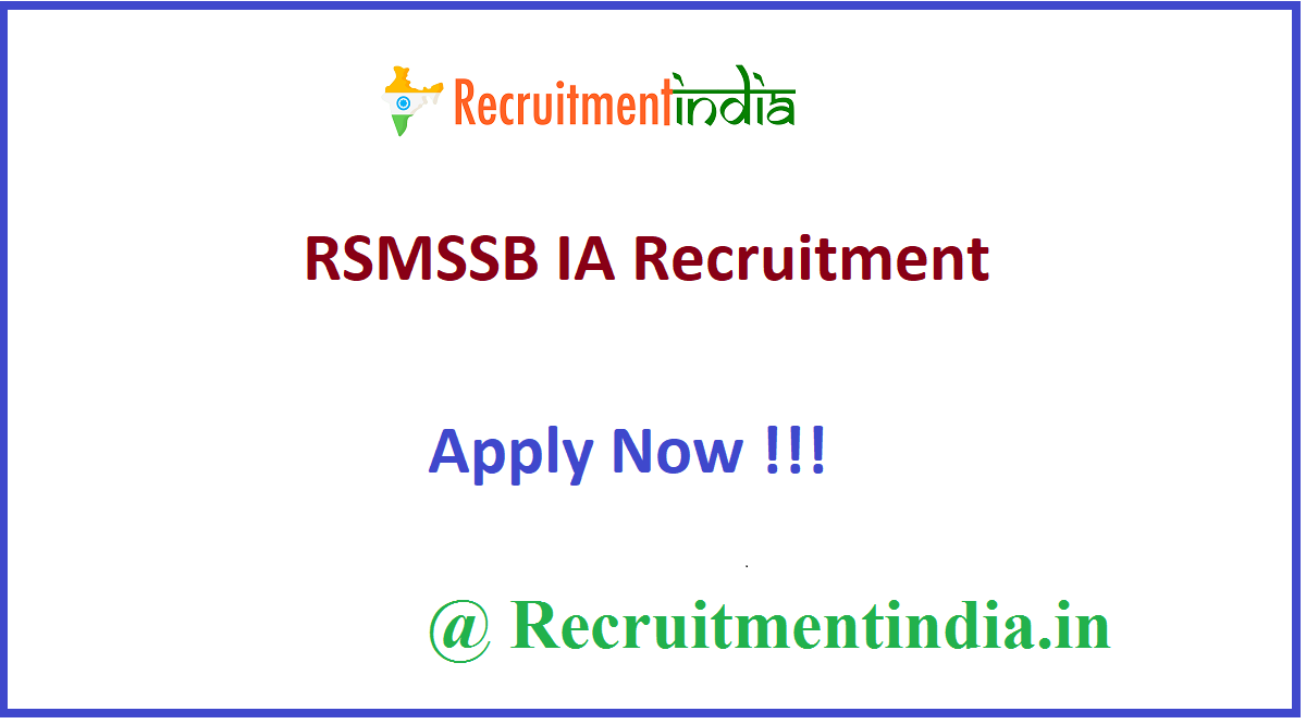 RSMSSB IA Recruitment