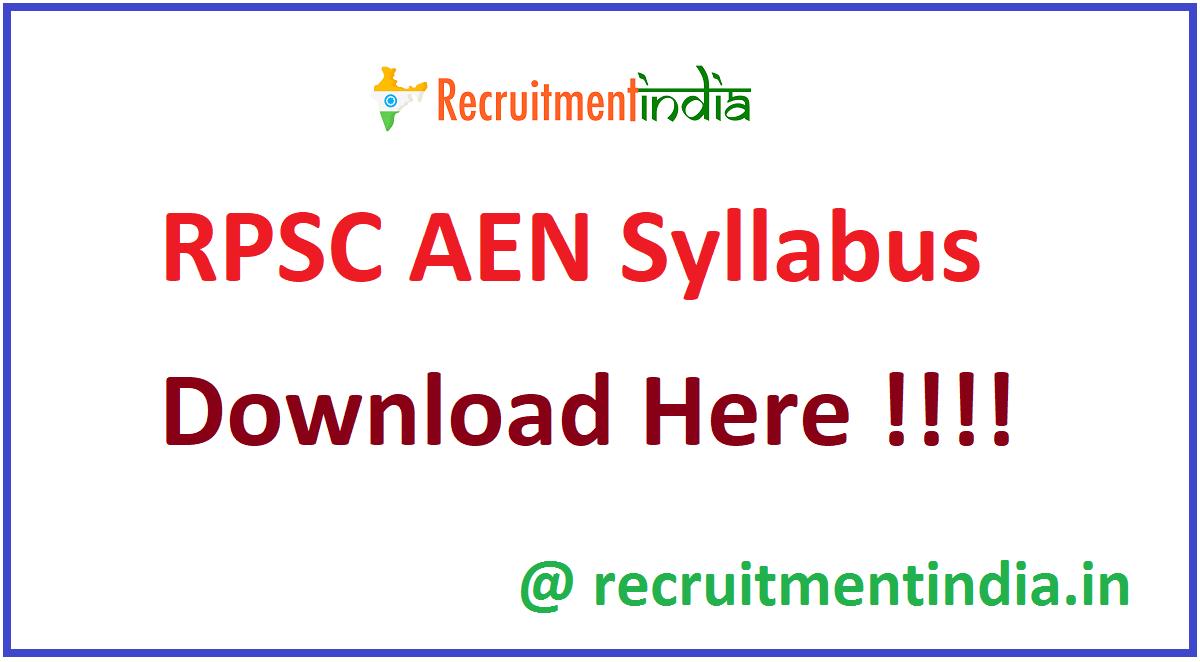 RPSC AEN Syllabus