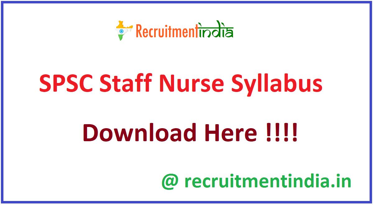SPSC Staff Nurse Syllabus