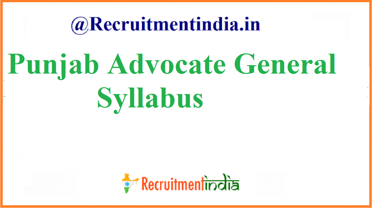 Punjab Advocate General Syllabus