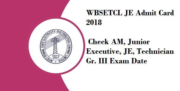 WBSETCL JE Admit Card