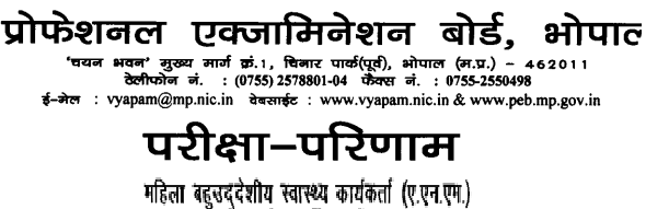 MP Vyapam ANM Result