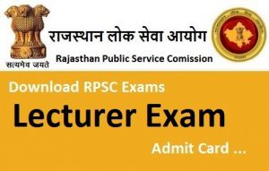 RPSC School Lecturer Admit Card 2018