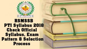 RSMSSB PTI Syllabus 2018