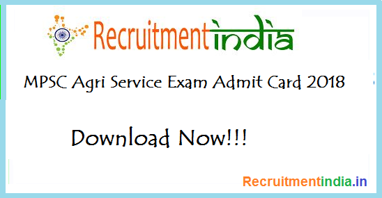 MPSC Agriculture Service Admit Card