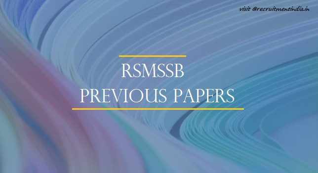 RSMSSB Lab Assistant Previous Papers