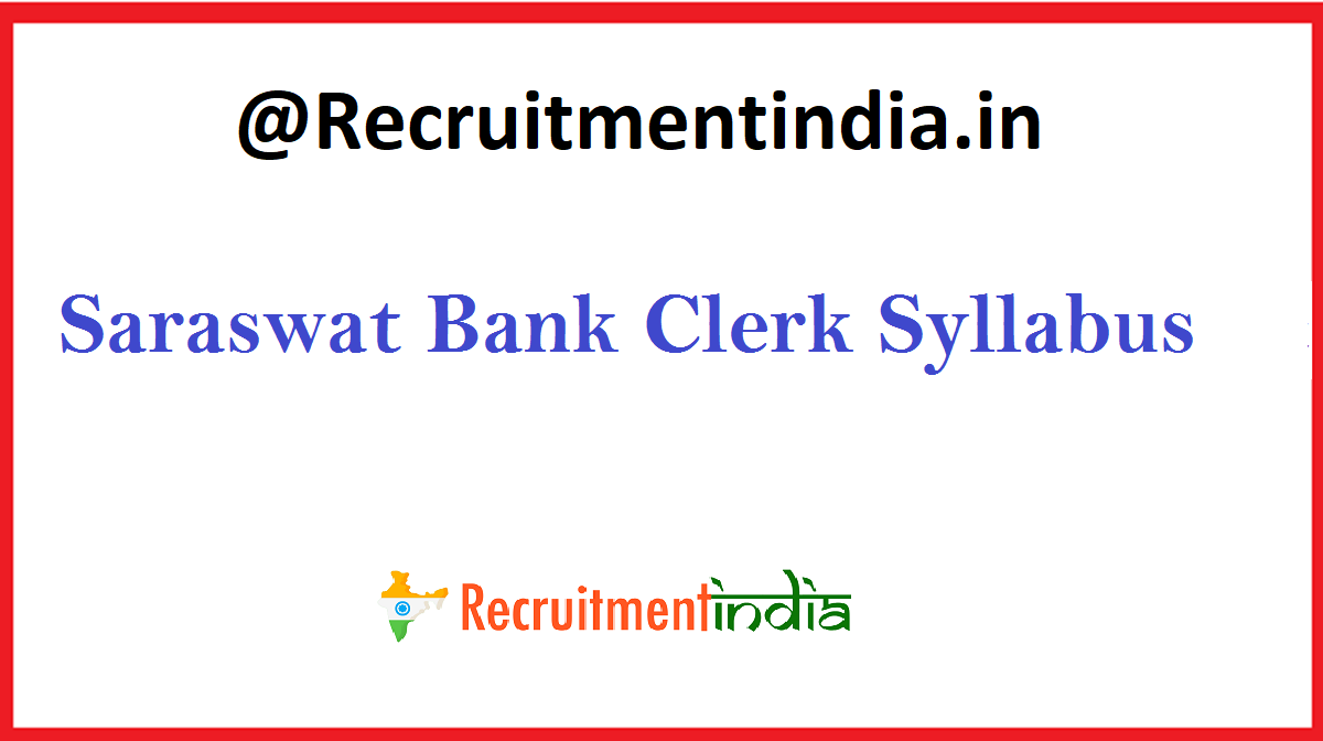Saraswat Bank Clerk Syllabus