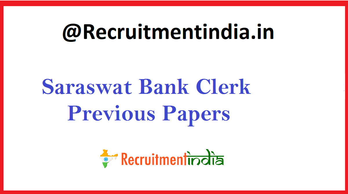 Saraswat Bank Clerk Previous Papers