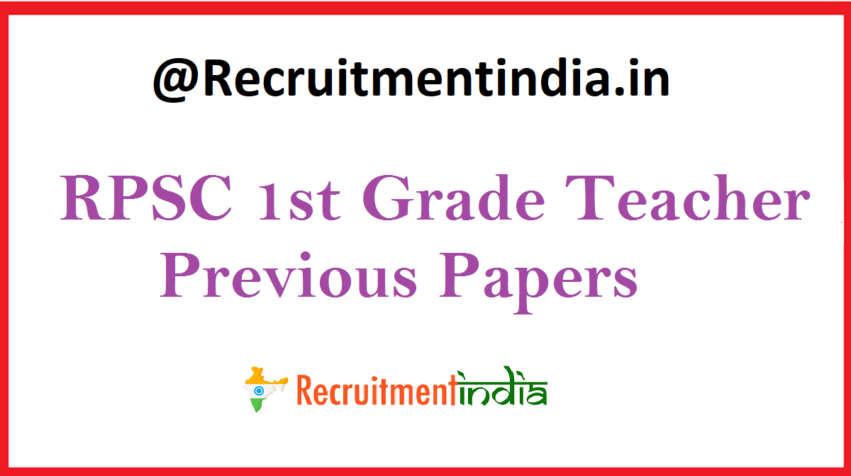 RPSC 1st Grade Teacher Previous Papers