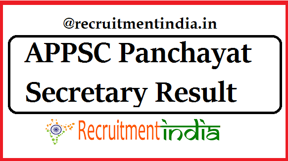 APPSC Panchayat Secretary Result