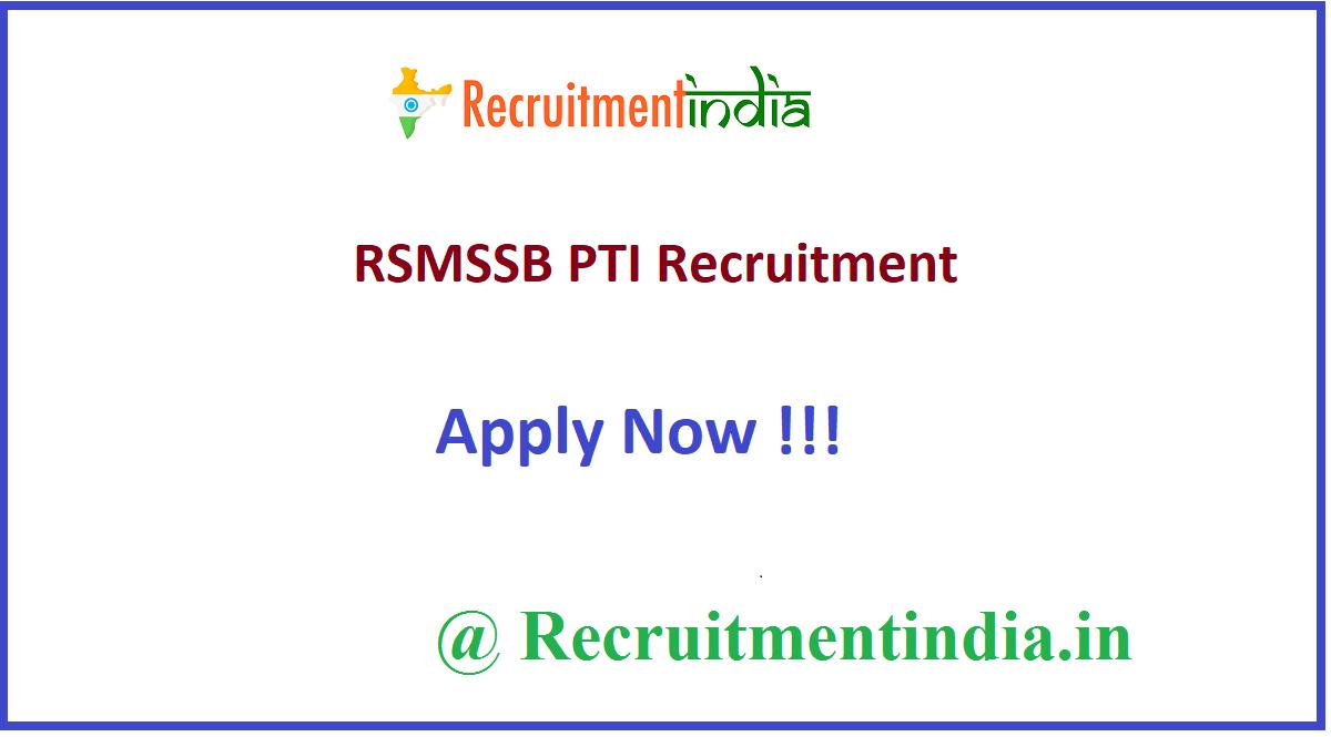 RSMSSB PTI Recruitment