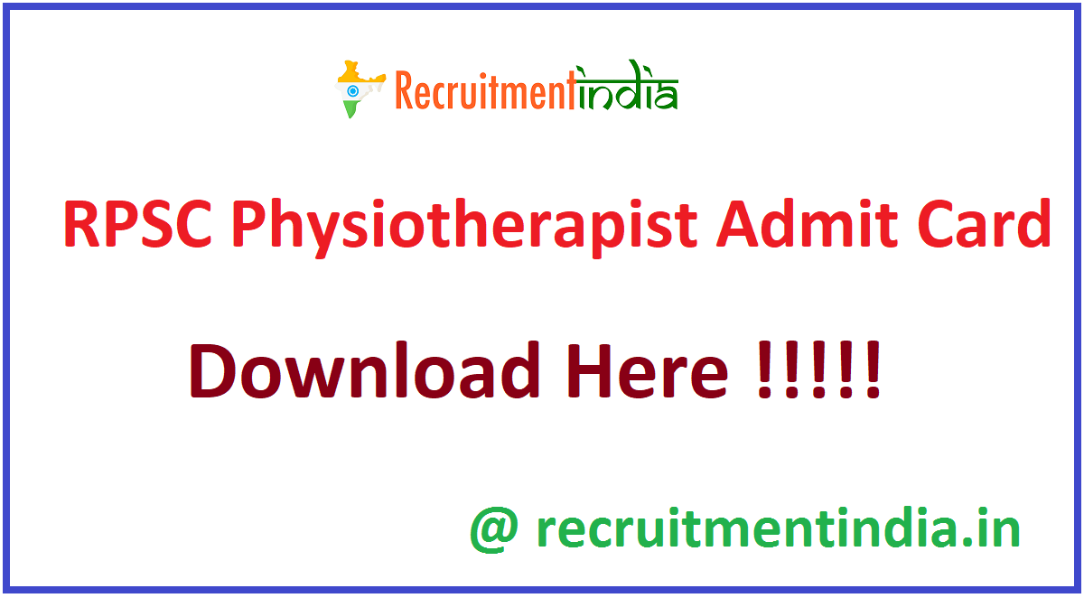 RPSC Physiotherapist Admit Card