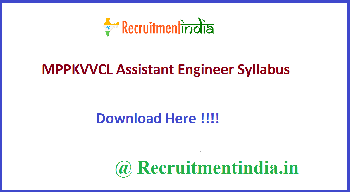 MPPKVVCL Assistant Engineer Syllabus