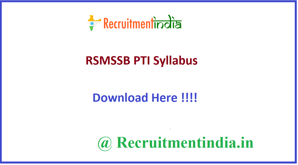 RSMSSB PTI Syllabus
