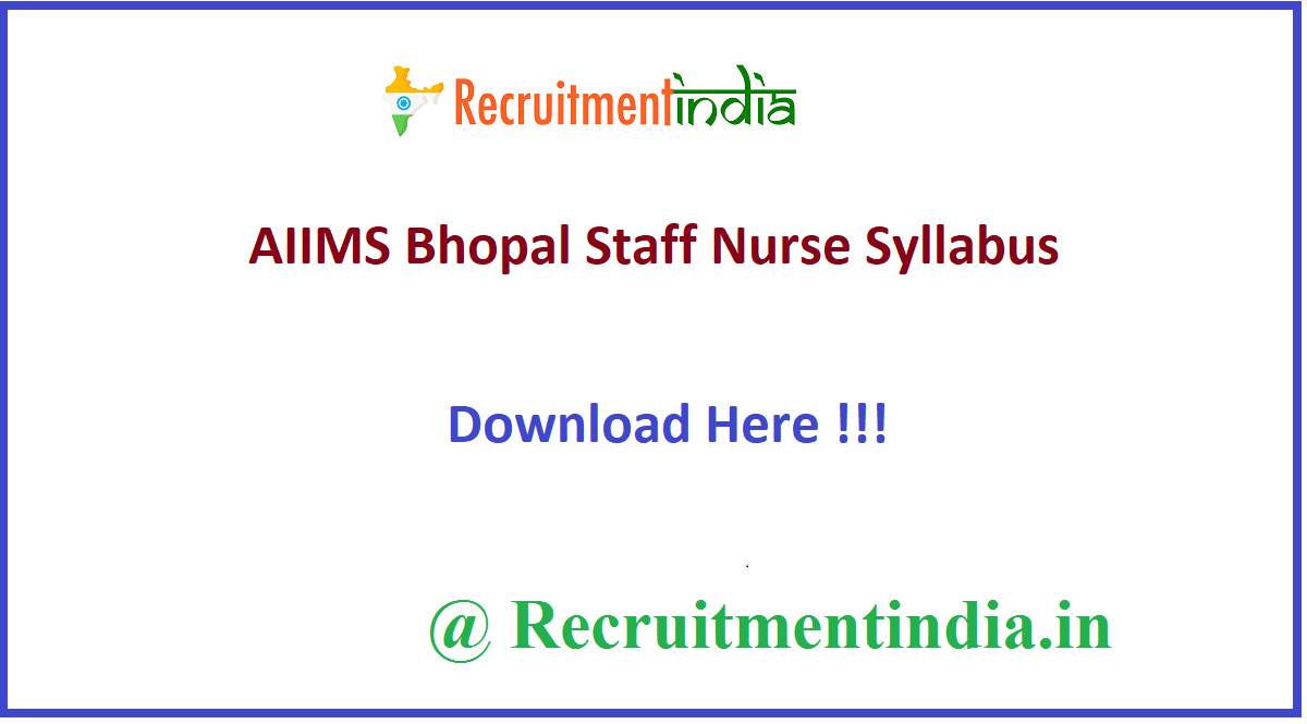 AIIMS Bhopal Staff Nurse Syllabus