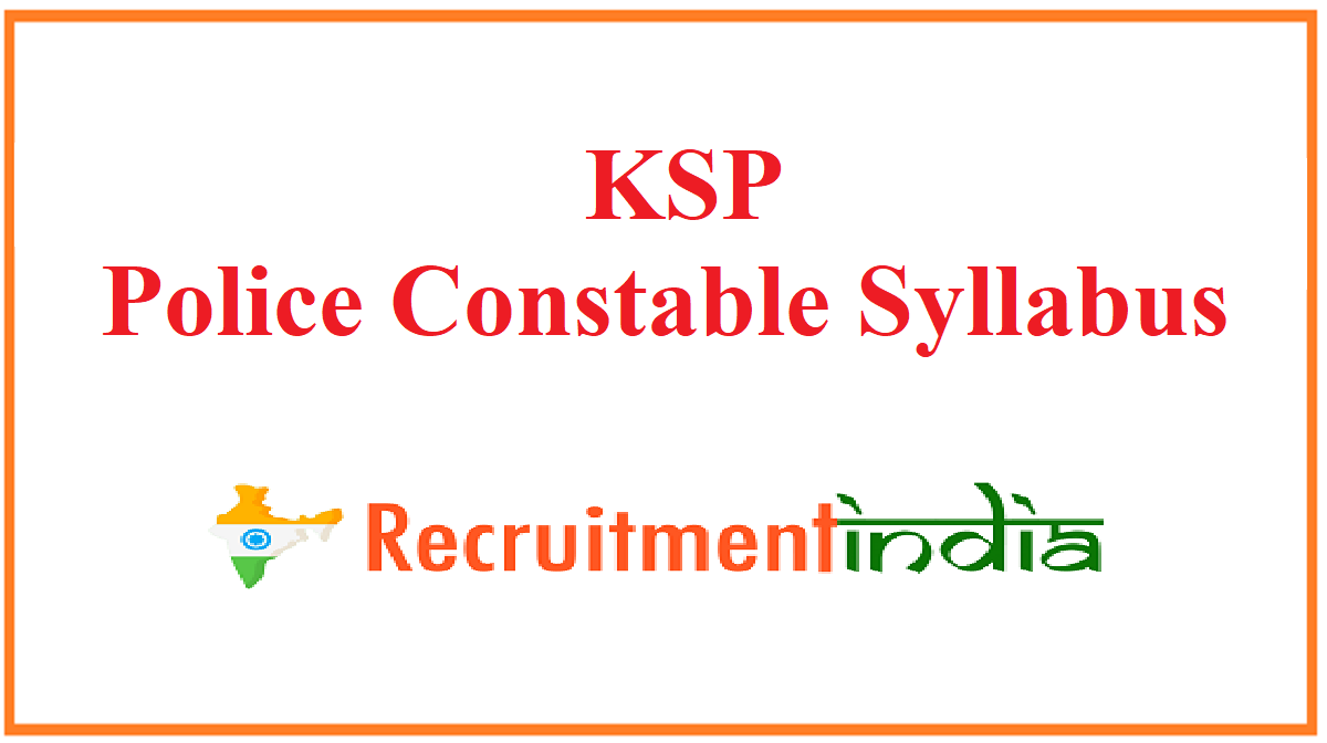 KSP Police Constable Syllabus