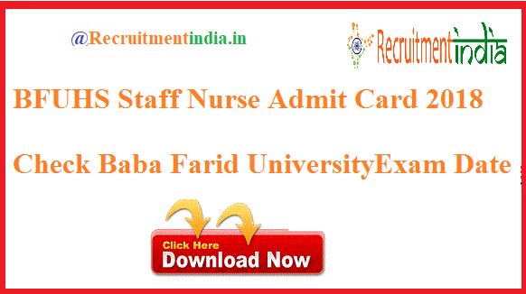 BFUHS Staff Nurse Admit Card