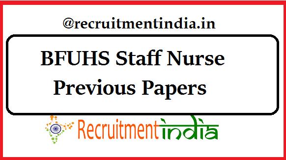 BFUHS Staff Nurse Previous Papers